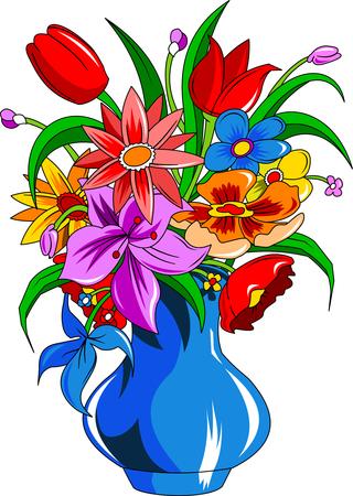zomertuin: Boeket van zomerbloemen in een witte vaas, vector en illustratie