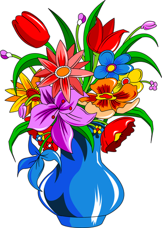 mixed flower bouquet: Bouquet of summer flowers in a white vase, vector and illustration Illustration