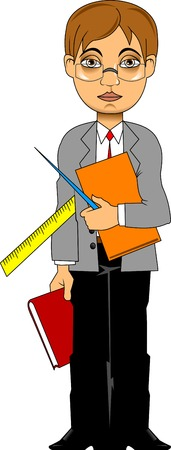 young teacher with books and a pointer; vector and illustration;  Vector