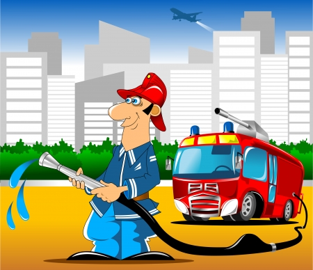 human: Illustration of a fireman holding and fire truck background