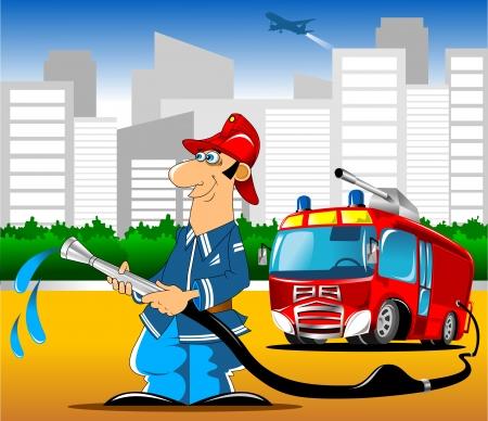 seres humanos: Ilustraci�n de un bombero de retenci�n y el fuego de fondo de camiones