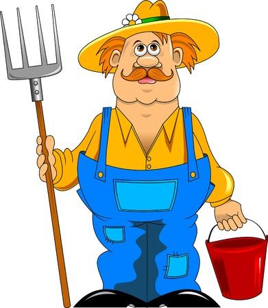 干し草用フォークやバケツと陽気な口ひげを生やした農家