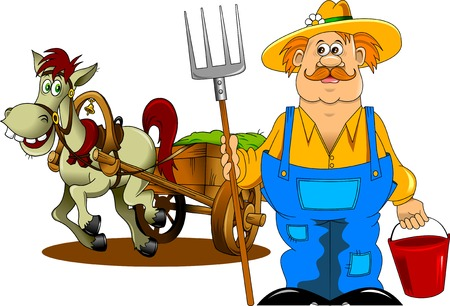 merry mustachioed farmer with a pitchfork and bucket;  Ilustração