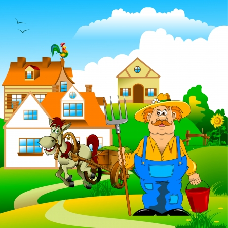 coverall: merry mustachioed farmer with a pitchfork and bucket;  Illustration