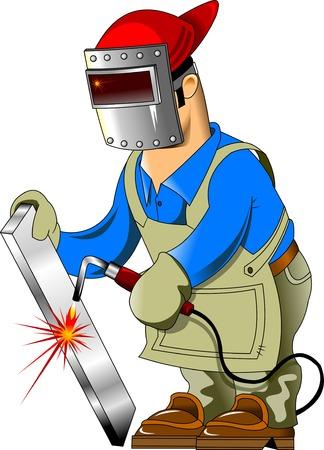 welding worker: welder in protective coveralls and protective mask, vector Illustration