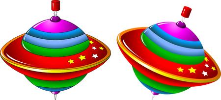 perinola: ilustraci�n de un tarareo-top, perinola sobre un fondo blanco