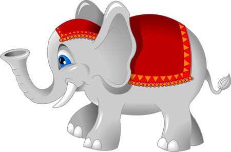 cheerful elephant in a red cap, vector and illustration  Vector