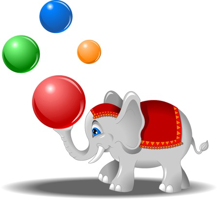 juggles: white elephant juggles colored balls, vector Illustration