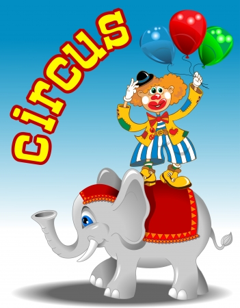 circus performers: circus performers - clown with balloons and elephant vector Illustration