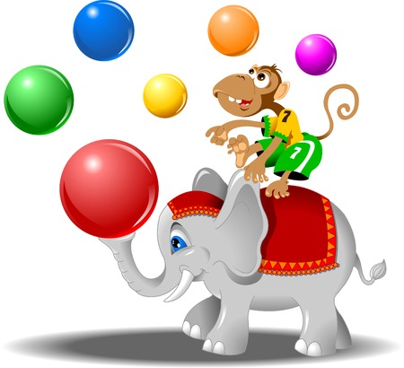 circus performers - monkey with balls and elephant, vector Vector