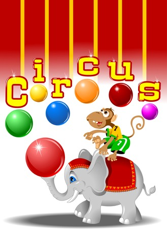 circus performers: circus performers - monkey with balls and elephant, vector