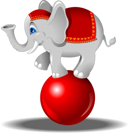 white elephant balancing on a red ball standing, vector Vector