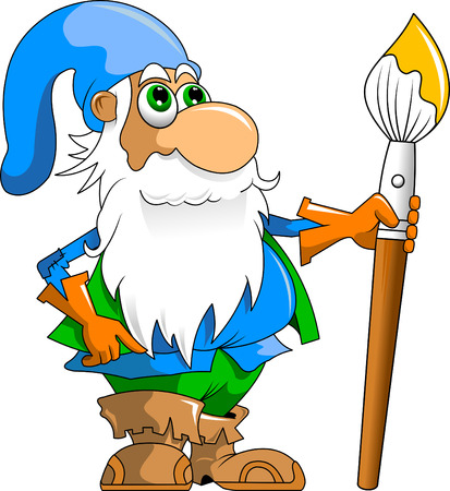 cheerful gnome with huge colored pencil Vector