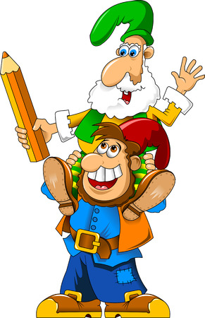 two cheerful gnome with huge colored pencil Vector