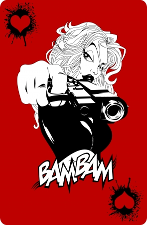 mafia: woman with a gun on a background of game cards, vector
