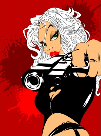 beautiful woman with big black gun, vector