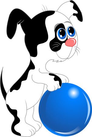 drooling: funny dog with blue eyes, vector and illustration