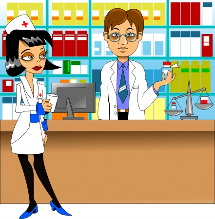 pharmacist in a white coat gives medicine, vector Illustration