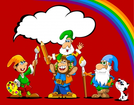 group picture: group of gnomes in robes of different colors paint a picture, vector