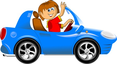 one vehicle: young driver in a red shirt on a blue car