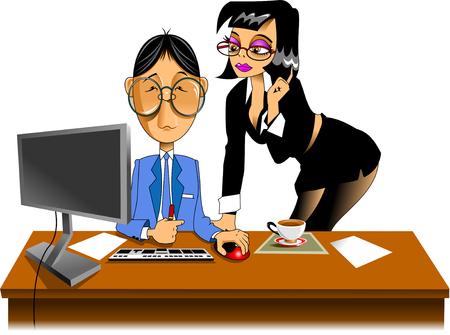 telefono caricatura: hombre de negocios y su secretaria a hacer un plan de negocios, vector