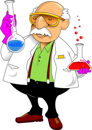 chemistry teacher shows chemical experience, vector and illustration
