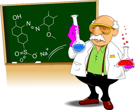 chemistry teacher shows chemical experience, vector and illustration Vector