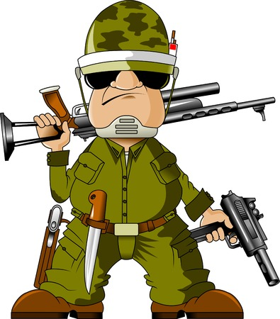 army uniform: Soldiers armed with submachine gun and knife, vector Illustration