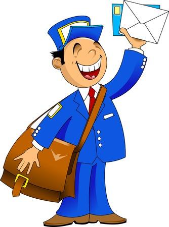 Facteur en uniforme bleu avec un grand sac porté lettres, vecteur Banque d'images - 26056742