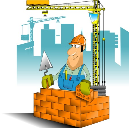 construction helmet: construction worker in blue jumpsuit and yellow helmet, vector and illustration