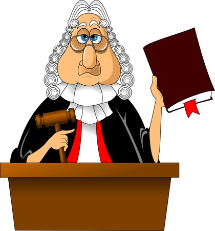 Angry judge with gavel makes verdict for law, vector Illustration