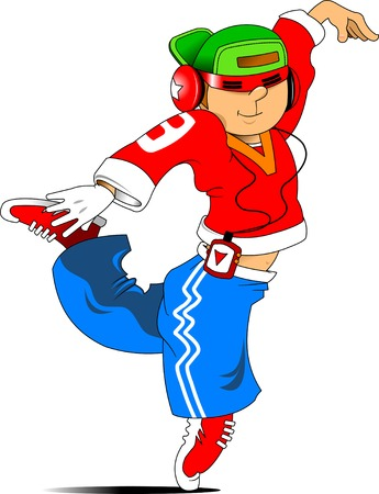 young dancer in red glasses; dancing dynamic dance Vector