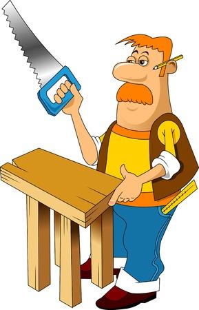 besnorde timmerman met zaag knutselen nieuwe tabel, vector Stock Illustratie