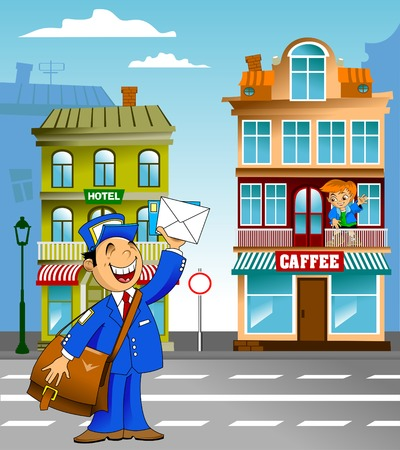 postman in blue uniform with a big bag brought letters Vector