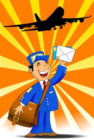 postman in blue uniform with a big bag brought letters, vector Vector