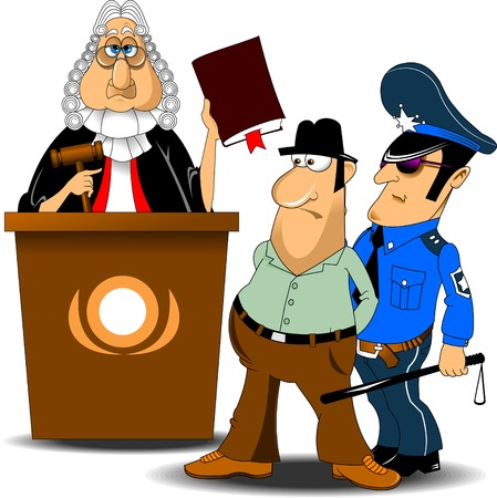 supreme court: Angry judge with gavel makes verdict for law, vector Illustration