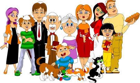 big family: Big happy family gathered together to meet the Sabbath Illustration