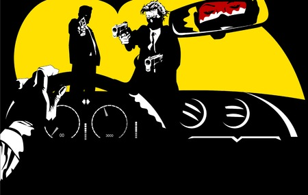 men in black suits with a weapon, vector and illustration Vector