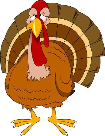 Cute cartoon thanksgiving turkey. Vector and illustration Illustration