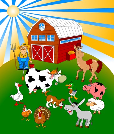 Farmer on his small farm with different animals Vector