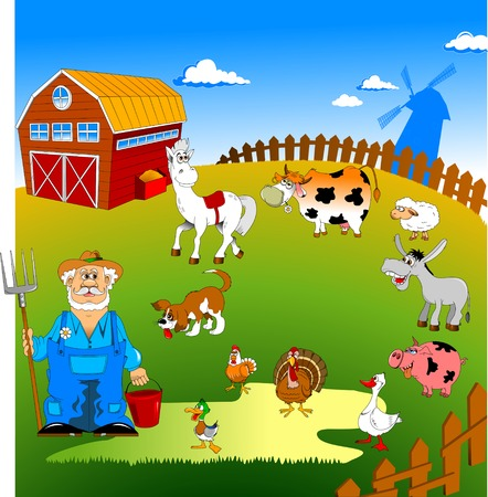Farmer on his small farm with different animals;