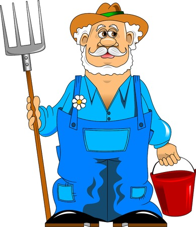 merry mustachioed farmer with a pitchfork and bucket;  Vector