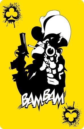 tough man: evil sheriff cigarette and big gun, illustration