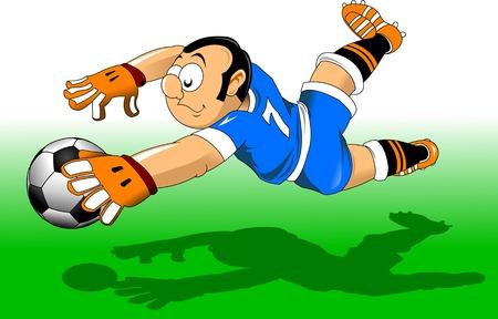 keeper vangt de bal in de lucht, vector en illustratie