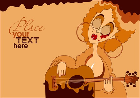 folk music: vintage background with a woman playing the guitar