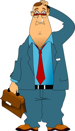 attire: pensive fat man in a blue suit with briefcase in hand Illustration
