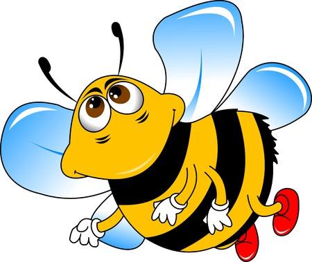 abejas panal: alegre pequeña abeja en los zapatos rojos Vectores