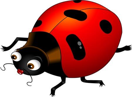黒い点は、赤いドレスを着たてんとう虫ベクトル;  イラスト・ベクター素材