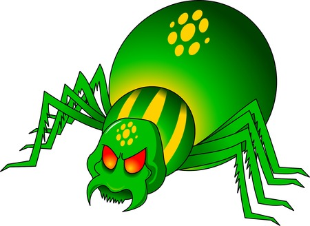 arachnid: evil green spider with yellow circles on the back