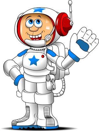 spacesuit: cheerful astronaut in a spacesuit waving white, vector Illustration